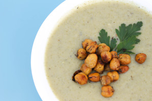 Broccoli Soup with Thyme Roasted Chickpeas