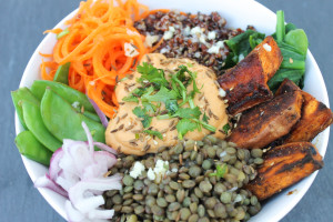 Puy Lentil and Roasted Red Pepper Hummus Bowl