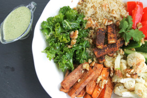 Spiced Tofu Kale Bowl with Cilantro Tahini Dressing