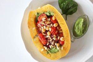 Pesto Spaghetti Squash with Sautéed Cherry Tomatoes & Chickpeas
