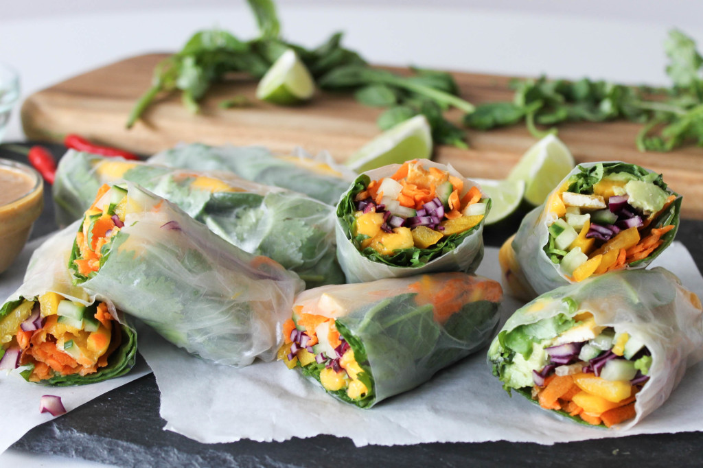 Rainbow Rolls with Crispy Tofu & Ginger Peanut Sauce - Reaching for ...