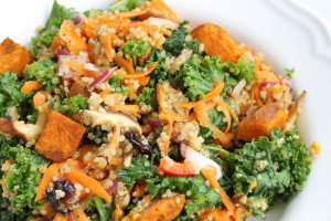 Shiitake and Sweet Potato Kale Salad with Miso Ginger Dressing