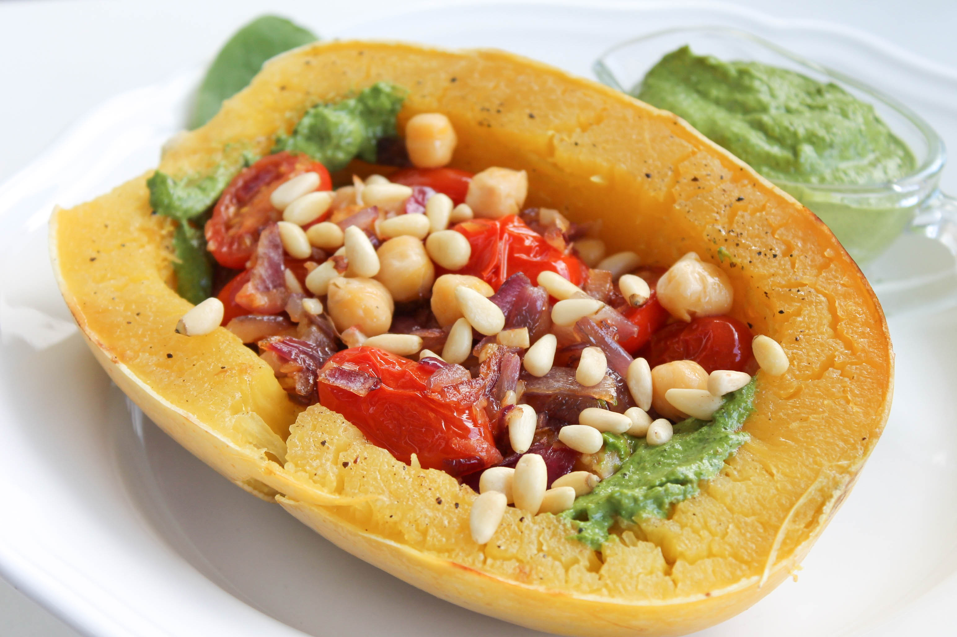 Pesto spaghetti squash with sauted cherry tomatoes chickpeas forumfinder Image collections