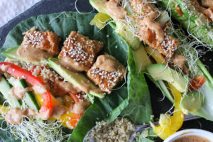 Spicy Almond Tempeh Wraps