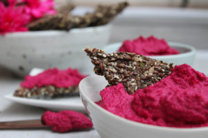 Super Seed Crackers & Beetroot Hummus